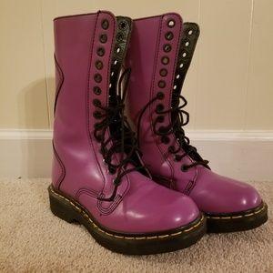 Doc marten style purple patent leather boots